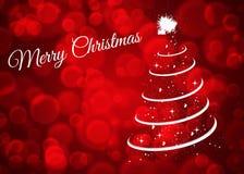 Cartão de Natal com a árvore de Natal no fundo vermelho imagens de stock