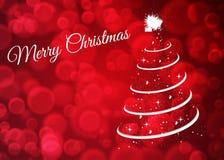 Cartão de Natal com a árvore de Natal no fundo vermelho imagem de stock royalty free