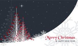 Cartão de Natal com árvores, estrelas e neve Foto de Stock