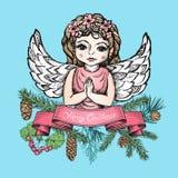 Cartão de Natal com anjo Imagem de Stock