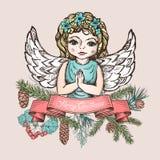 Cartão de Natal com anjo Imagens de Stock