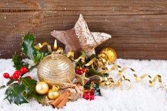 Cartão de Natal com artigos do Natal Imagens de Stock Royalty Free