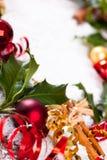 Cartão de Natal com artigos do Natal Fotos de Stock Royalty Free