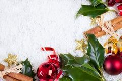 Cartão de Natal com artigos do Natal Fotos de Stock