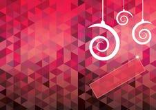 Cartão de Natal com as bolas espirais da forma e teste padrão geométrico b Imagem de Stock Royalty Free