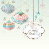 Cartão de Natal com as decorações bonitos da cor ilustração stock