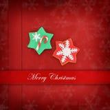 Cartão de Natal com biscoitos da estrela Fotografia de Stock