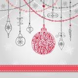 Cartão de Natal com bola, festões, rotulando ilustração do vetor
