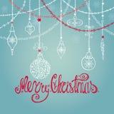 Cartão de Natal com bola, presentes, festões, rotulando ilustração royalty free