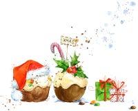 Cartão de Natal com bolo do Natal Ilustração do bolo do Natal da aquarela Fundo para o cartão do convite do ano novo ilustração do vetor