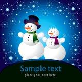 Cartão de Natal com boneco de neve ilustração do vetor