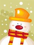 Cartão de Natal com boneco de neve Imagem de Stock Royalty Free
