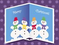 Cartão de Natal com bonecos de neve Fotos de Stock Royalty Free