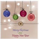 Cartão de Natal com botões Fotografia de Stock