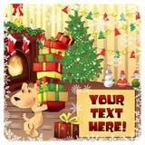 Cartão de Natal com cão Fotos de Stock Royalty Free