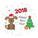 Cartão de Natal com cão dos desenhos animados Fotos de Stock Royalty Free
