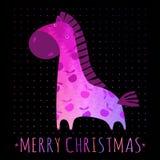 Cartão de NATAL com cavalo colorido Imagens de Stock Royalty Free