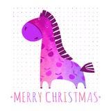 Cartão de NATAL com cavalo colorido Fotografia de Stock