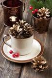 Cartão de Natal com composição do feriado Fotografia de Stock