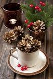 Cartão de Natal com composição do feriado Imagem de Stock