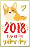 Cartão de Natal com corgi ilustração royalty free