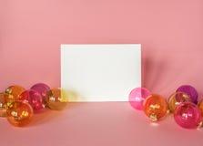 Cartão de Natal com decoração Fotografia de Stock