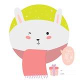 Cartão de Natal com desenhos animados e os animais engraçados Fotos de Stock Royalty Free