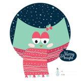 Cartão de Natal com desenhos animados e os animais engraçados Imagens de Stock Royalty Free