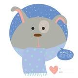 Cartão de Natal com desenhos animados e os animais engraçados Imagem de Stock Royalty Free