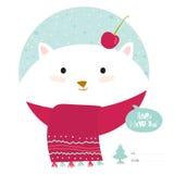 Cartão de Natal com desenhos animados e os animais engraçados Imagem de Stock