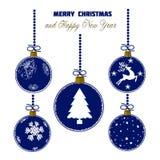 Cartão de Natal com elementos da decoração no estilo moderno ilustração royalty free