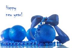 Cartão de Natal com esferas Fotografia de Stock Royalty Free