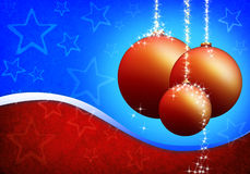 Cartão de Natal com esferas de vidro imagens de stock