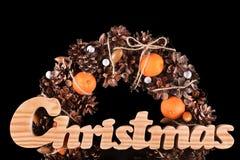 Cartão de Natal com espaço isolado grinalda da cópia Fotografia de Stock Royalty Free