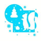 Cartão de Natal com esquilo e abeto ilustração do vetor