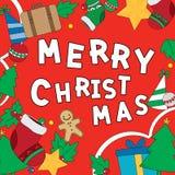 Cartão de Natal com estilos do desenho Ilustração do vetor Imagens de Stock