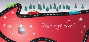 Cartão de Natal com estrada e carros Fotografia de Stock