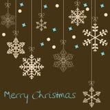 Cartão de Natal com flocos de neve ilustração stock