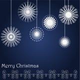 Cartão de Natal com flocos de neve Fotografia de Stock