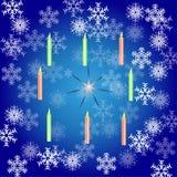 Cartão de Natal com flocos de neve e velas em um fundo azul ilustração do vetor