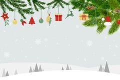 Cartão de Natal com fundo e os ornamento azuis de Santa ilustração stock