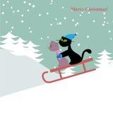 Cartão de Natal com gatos Imagens de Stock