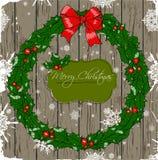Cartão de Natal com grinalda. Fotos de Stock Royalty Free