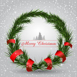 Cartão de Natal com grinalda Fotografia de Stock Royalty Free