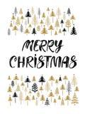 Cartão de Natal com a mão tirada rotulando o Feliz Natal foto de stock royalty free