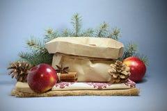 Cartão de Natal com maçãs vermelhas Fotos de Stock