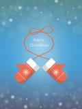 Cartão de Natal com mitenes Imagem de Stock
