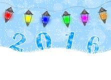 Cartão de Natal com números 2016 ilustração royalty free