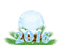 Cartão de Natal com números 2016 ilustração stock