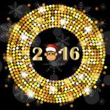 Cartão de Natal com os números do ano 2016 e de macaco ilustração royalty free